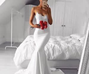 bride, dress, and wedding dress image