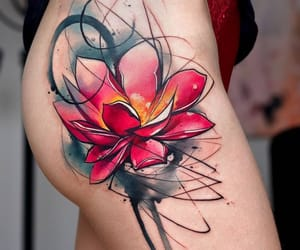 flower, lotus, and red image