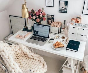 desk, home, and room image
