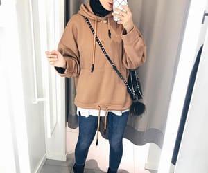 hijab, denim, and jeans image
