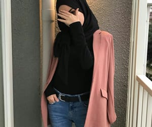 girl, hijab, and jeans image