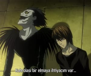 sinigami, death note, and light yagami image