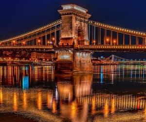 bridge, budapest, and city lights image