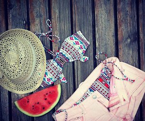 hat, watermelon, and short image
