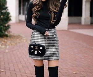 casual, long sleeve, and plaid skirt image