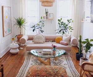 interior design, plants, and living room decoration image