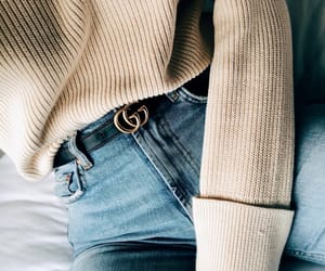 belt, jeans, and oversized image