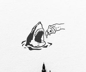 drawing, pizza, and shark image