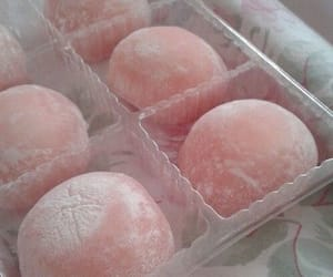 food, pink, and mochi image