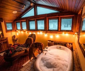 bathroom, bathtub, and cabin image