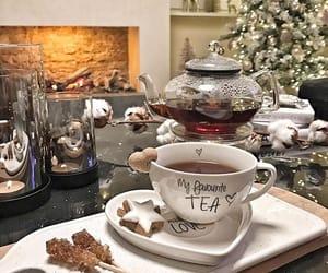 christmas, cup of tea, and fireplace image