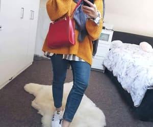 hijab, bag, and scarf image