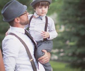 fashion and father and son combining image