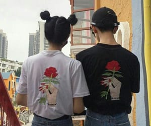 couple, rose, and grunge image