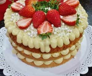 cake, foods, and strawberry image