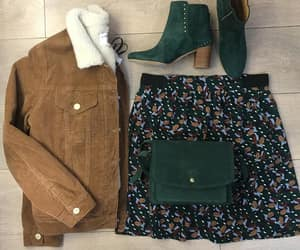 floral skirt, suede boots, and box bag image