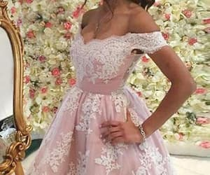 white prom dress, short prom dress, and prom dress pink image