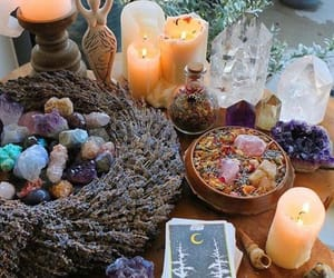 candle, crystals, and stones image