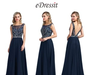 evening gown, navy blue, and beaded prom dress image