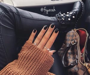 fashion style, louis vuitton lv, and nail nails black image