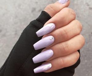girly, purple nails, and nail inspo image