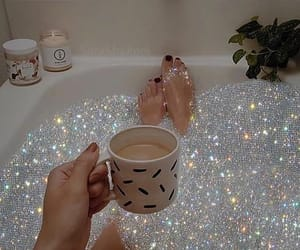 coffee, glitter, and aesthetic image