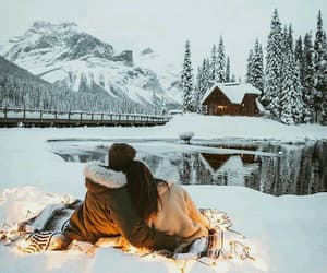 winter, couple, and love image