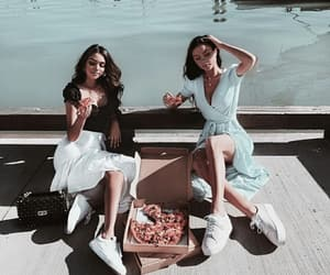 best friends, girl, and food image