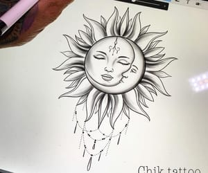 art, ink, and moon image