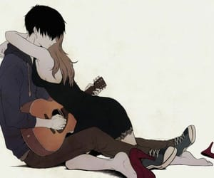 anime, love, and guitar image
