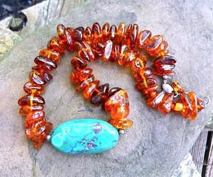 etsy, amber necklace, and chrysocolla necklace image
