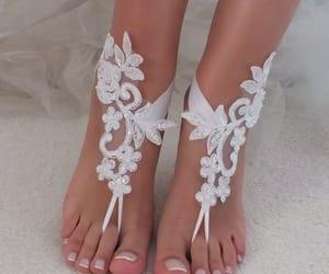 etsy, lace barefoot sandal, and beach wedding lace image