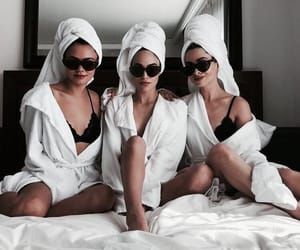 girls, friends, and bed image