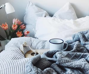 bed, coffe, and cozy image