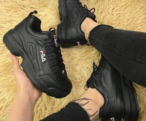 black, sneakers, and Fila image