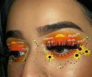 eye makeup, sunflower, and yellow image