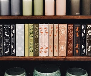 books, decoration, and shelf image