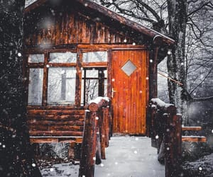 snow, winter, and cabin image