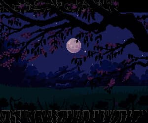 Darkness, moon, and pixel art image
