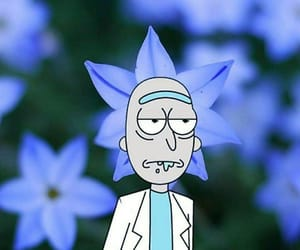 rick and morty, blue, and flowers image