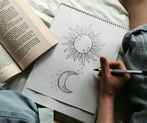 book, draw, and moon image