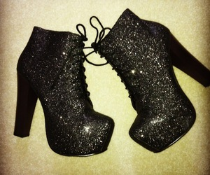 shoes, black, and glitter image