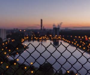 lights, city, and sunset image