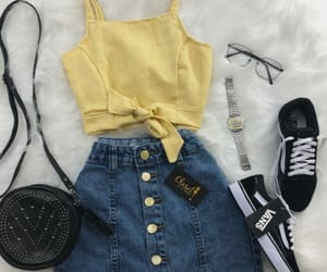 outfit, clothes, and yellow image