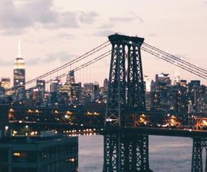 city lights, wallpaper, and bridge image