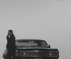 black and white, dean winchester, and impala image
