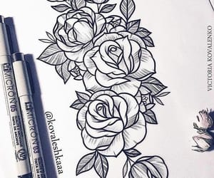 black, draw, and roses image