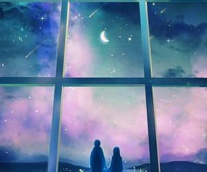 art, couple, and moon image