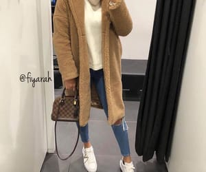 fashion style, louis vuitton lv, and teddy bear coat image