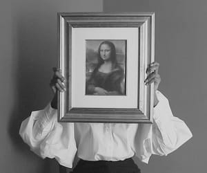 mona lisa, art, and b&w image